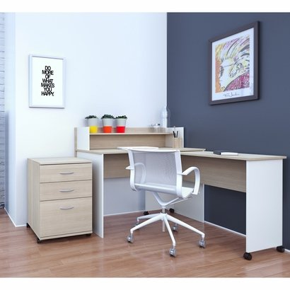 Atelier Home Office Kit with 48-inch Desk with Hutch, Mobile Work Surface, & 3-Drawer Mobile File