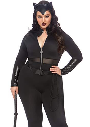 Cheap Villain Costumes (Leg Avenue Women's Plus Size 3 Pc Sultry Supervillain Costume, Black, 1X /)