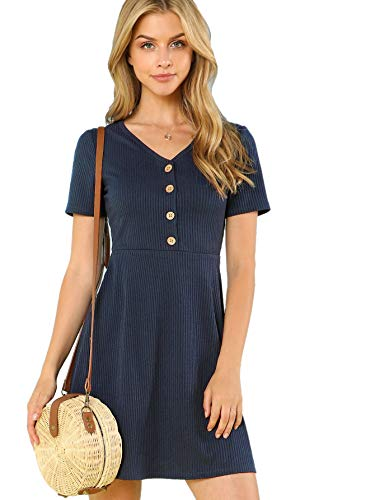 Milumia Women's Button Up Ribbed Knit Dress V Neck Short Sleeve Casual Summer Dress (Small, A-Navy)