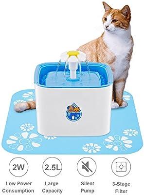 WOLFWILL Fuente de Agua 2,5L Silencioso para Perro y Gato Flor con Filtro, Fuente de Gato Cascada retient los olores y Bacterias, Bebedero con Filtro Fuente ...