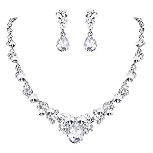 EVER FAITH Rhinestone Crystal Elegant Bridal Floral Teardrop Necklace Earrings Set