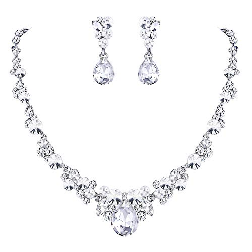 (EVER FAITH Rhinestone Crystal Bridal Floral Teardrop Necklace Earrings Set Clear Silver-Tone)