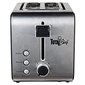 Total Chef TCT02 2-Slice Stainless Steel Toaster with Adjustable Browning Controls, Countertop, Silver/Black