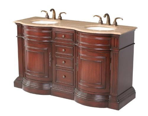 Stufurhome GM-3211-62-TR 62-Inch Catherine Double Vanity in Rich Cherry Red Finish with Marble in Travertine with White Undermount