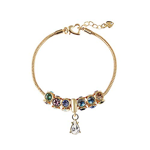 Martine Wester Clear Crystal Bracelet Alloy Snake Chain Strand with Barrel Clasp Luxurious Classy Adjustable Gift for Women