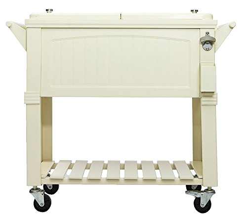 Permasteel 80 Quart Portable Rolling Patio Party Cooler in Antique White/Cream