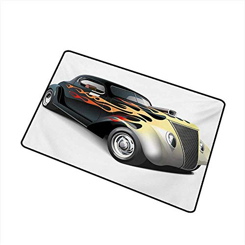 Becky W Carr Vintage Inlet Outdoor Door mat Retro 40s Fashionable Drag Car with Ombre Flames Print Artwork Catch dust Snow and mud W23.6 x L35.4 Inch,Black Silver Red and Orange]()