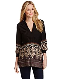 OLIAN Maternity Women's Arabesque Print Collared Tunic Top Small Black