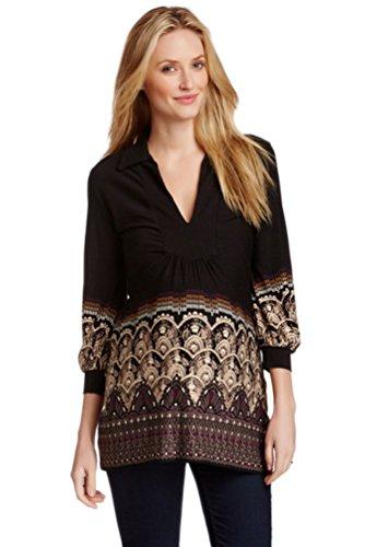 Olian Maternity Women's Arabesque Print Collared Tunic Top Small Black