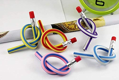 Sshakuntlay® Combo Set of 24 Pcs - Teddy Bear Sharpner (12 Pcs) and Flexible Pencil (12 Pcs)