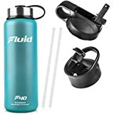 Fluid Insulated Stainless Steel Water Bottle By Sports (Teal Blast) - 40 Oz, Wide Mouth, BPA Free, Bonus Flip-top Lid Included