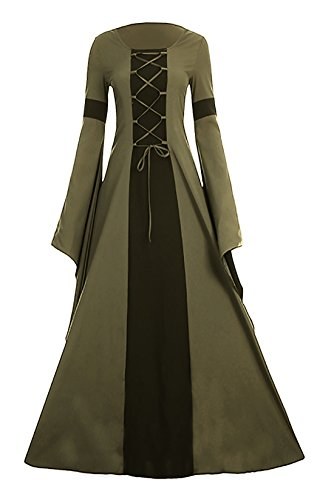 Meilidress Women Medieval Dress Lace Up Vintage Floor Length Cosplay Retro Long Dress (X-Large, Army Green) -