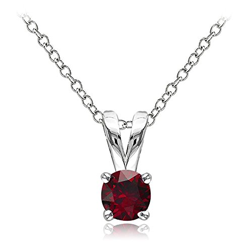 (Sterling Silver Created Ruby 5mm Round Solitaire)