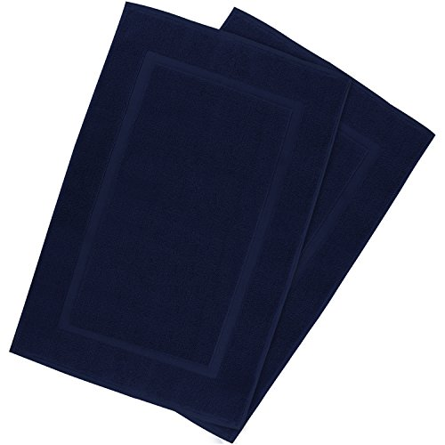 Utopia Towels Luxury Cotton Hotel-Spa Tub-Shower Bath Mat Floor Mat - (2 Pack, Navy, 21 Inch by 34 Inch) - Washable Bath Rug Set - Luxurious Size - Maximum Absorbency - Machine Washable - by