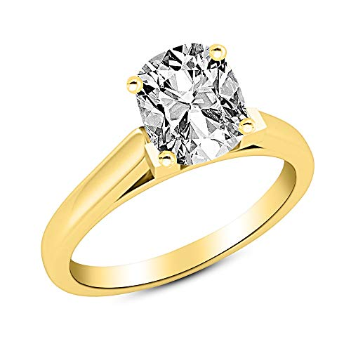 0.9 Carat 18K Yellow Gold Cushion Cut Cathedral Solitaire Diamond Engagement Ring I-J Color VS2 Clarity