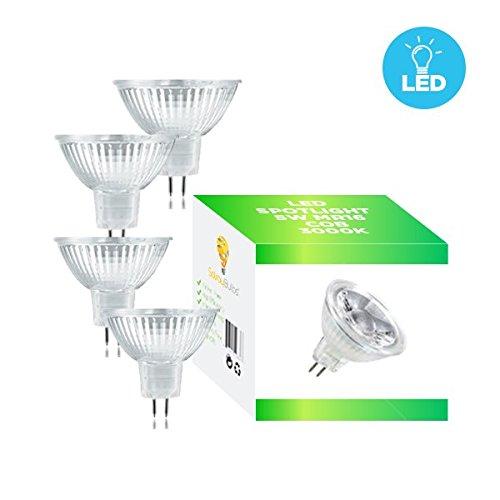 Solray 4-Pack of MR16 LED 5-Watt (35-Watt Halogen Replacement), 3000K (Soft White Glow), 40° Beam Angle, GU5.3 Base, 400 Lumens, 25,000 Hours AC/DC 12V