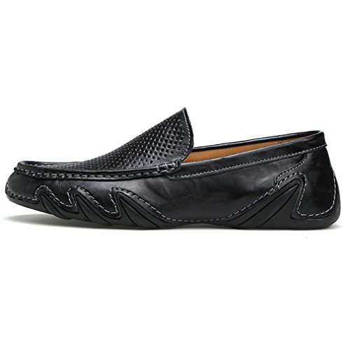 Out da Summer guida Black Hollow On Scarpe Mocassini casual pelle in estive da vera Mocassini traspiranti uomo Scarpe da Slip uomo OwqHYxHSv
