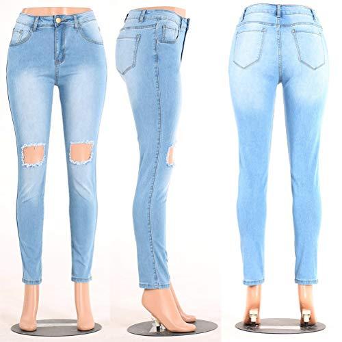 Stil 3 Frontali Grazioso Matita A Tasche Pantaloni Stretch Da Donna Vita Denim Media Biran Skinny Strappati Jeans Bottoni Con Wx7BTqUq8w