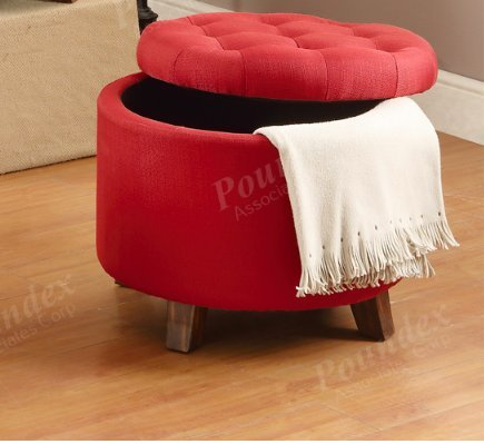 1PerfectChoice Accent Organizer Round Storage Ottoman Footstool Pouf  Upholstered Fabric