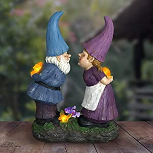 Exhart Gardening Gifts Garden Gnomes Kissing Statue Whimsical Garden Statues Wsolar Garden Lights Outdoor Use Fairy Themed Garden Decor Weather Resistant Resin Statues