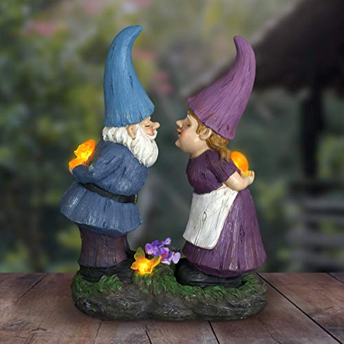 Exhart Kissing Gnomes Couple Garden Statue, Solar Powered, Resin, 15