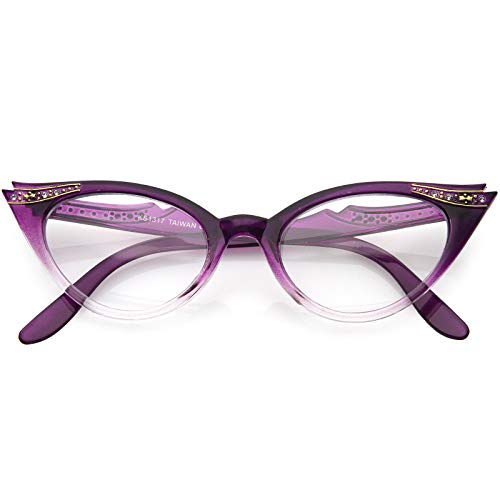 Vintage Cateyes 80s Inspired Fashion Clear Lens Cat Eye Glasses with Rhinestones (Purple Fade) (Dark Cat Eyes)