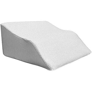 Lounge Doctor Elevating Leg Rest Pillow Wedge w Cooling Gel Memory Foam Heather Grey Cover Large 24