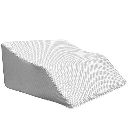 Extra Wide Lounge Doctor Elevating Leg Rest Pillow Wedge w Cooling Gel Memory Foam and Heather Grey Cover Medium Foot Pillow Leg Support Reduce Swelling Improves Circulation