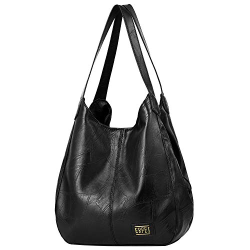 Shoulder Bags for Women Soft Leather Hobo Bags 3 Compartment Large Capacity Handbag Multiple Pocket Tote Bag,Black