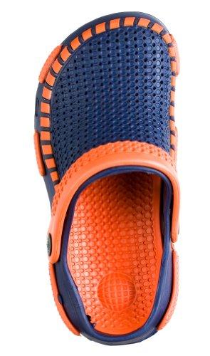 Tipi Toe Boys Clogs In Fun Colors (Sizes 30-35 Euro) (31 Euro, Navy/Orange)