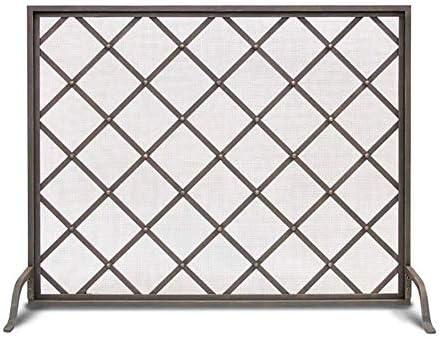 J-暖炉スクリーン 単一のパネル大型フラットガード暖炉スクリーン、錬鉄金属装飾メッシュ、31 H×39 Wベビーセーフスパークガードプロテクターカバー、ブラック、 スパークガードカバー