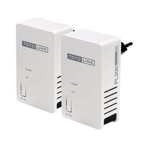 TOTOLINK PL200KIT High-Speed 200MB/S Radiation-Free  Power Line Adapters Plug and Play Design With USA Plugs, 300 m, 2 Piece