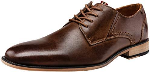 Brown Wide Shoes Oxfords - JOUSEN Men's Oxford Retro Leather Formal Dress Shoes (11.5,Dark Brown)