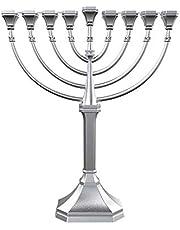 Zion Judaica Hanukkah Menorah Satin Silver Traditional Full Size Non Tarnish - Classic Graceful Style Precision Die Cast