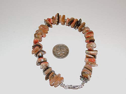 Sterling Silver and 12x8mm Abalone Shell Nugget Bracelet 8 5/8 -