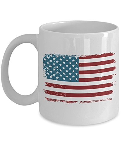 USA Flag Ceramic Coffee Mug, 11oz, White