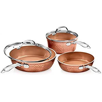 Gotham Steel Premium Hammered Cookware - 5 Piece Ceramic Cookware, Pots and Pan Set with Triple Coated Nonstick Copper Surface & Aluminum Composition for Even Heating, Oven, Stovetop & Dishwasher Safe