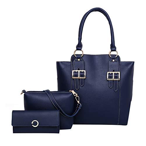 Tote Casual Blu Bags Shiny Signore Borsa a tracolla Scuro Leather di Set borsa Dexinx Giovani 3 Charming pezzi IC4qxBw