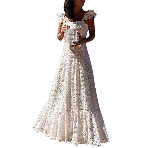 8e097c44d6ba4 Sagton Maxi Dresses for Women O-Neck Short Sleeve Solid Loose Cotton Linen  Casual Dress