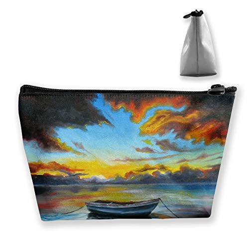 Makeup Bag Cosmetic Boat Painting Portable Bag Mobile Trapezoidal Storage Bag Travel Bags With Zipper (Fender Passport Cover)