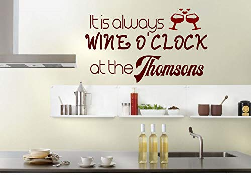 (Kitchen Wine Personalised Surname Living Room Wall Art Vinyl Decal Sticker)