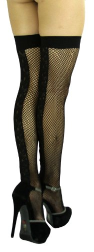 ToBeInStyle Women's Fishnet Thigh Hi w/ Embroidered Lacy Floral Along Backseam Wide Elastic Band On Top Stocking - One Size - Black -