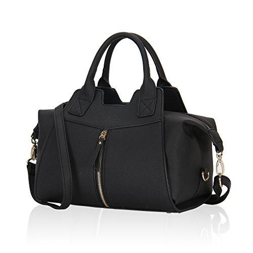 Women Leather Handbag Top Handle Satchel Tote Bag Black ()