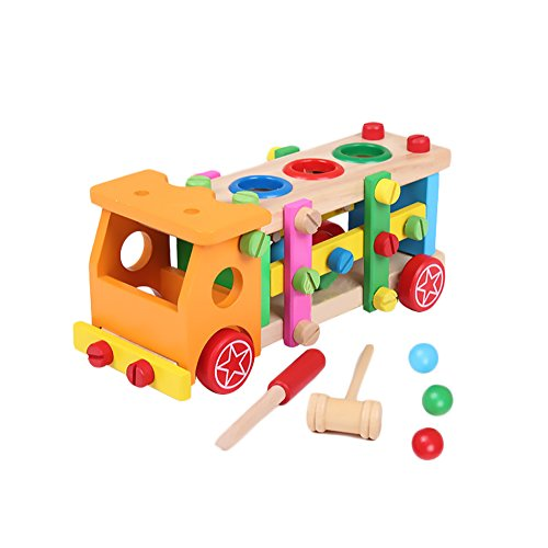 - O-Toys Baby Pounding Bench Wooden Toy with Mallet Construction Vehicle Toys Screw Nut Wood Puzzles Building Blocks Birthday Christmas Gift for Boys Girls Kids