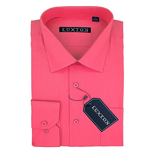 Luxton Cotton Poly Shirt Collection Regular Fit (Corol 638,Medium/Neck:15-15 1/2, Sleeve:32/33)