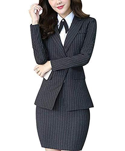 (Women's Three Pieces Office Lady Stripe Blazer Business Suit Set Women Suits Work Skirt/Pant,Vest Jacket)
