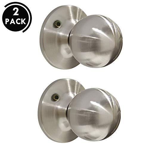 (Satin Nickel Round Dummy Door Knobs Contemporary Ball Shape for Interior Door Pull, 2 Pack)