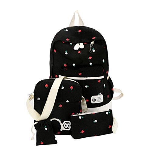 Bag Large Students HCFKJ Cute Printing Pouch Shoulder School Girls Black Drawstring Kids Sets Canvas Backpack 4PCS f8IwI