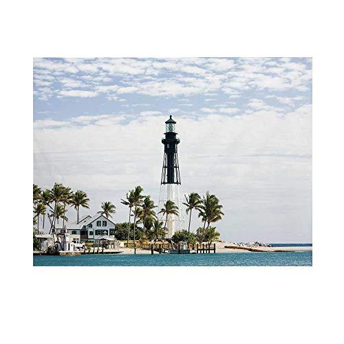United States Photography Background,Hillsboro Lighthouse Pompano Beach Florida Atlantic Ocean Palms Coast Decorative Backdrop for Studio,20x10ft