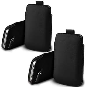 ONX3 Twin Pack Nokia X A110 PU de cuero protector Tab Pouch Funda Piel extracción (Negro)